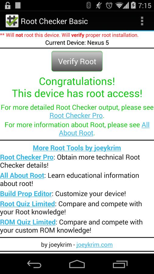 Screenshot von Root Checker Basic - Android App