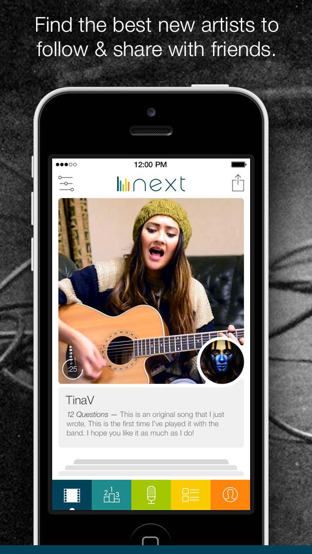 Screenshot von Next: Neue Musik entdecken im sozialen Netzwerk